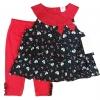 เสื้อผ้าเด็ก เซตเสื้อ-เลกกิ้ง-สายคาดผม 12-24เดือน size 12m-18m-24m ลายดอก สีดำ-แดง