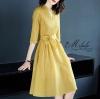 Dress คอวี แขน3ส่วน