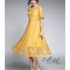 Dress ลูกไม้อิตาลี่ คอเหลี่ยมแขนสั้น