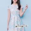 Dress Embroidery Lace Floral Orange Pastal Korea