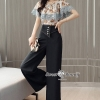 Flower Kelly String Top With Hight Waist Pants Set
