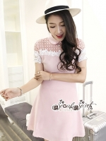 Fishtail Fashionista Lady Lace Sweet Pink Dress