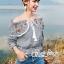 Erin Off Shoulder Flower embroidery Blue&Brown Stripe Elastic waist thumbnail 4