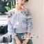 Erin Off Shoulder Flower embroidery Blue&Brown Stripe Elastic waist thumbnail 2