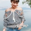 Erin Off Shoulder Flower embroidery Blue&Brown Stripe Elastic waist thumbnail 5