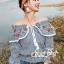 Erin Off Shoulder Flower embroidery Blue&Brown Stripe Elastic waist thumbnail 3
