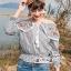 Erin Off Shoulder Flower embroidery Blue&Brown Stripe Elastic waist thumbnail 6