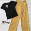 Set เสื้อยืดคอวีแขนสั้น กางเกงขายาว thumbnail 5