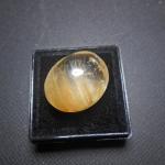 แก้วพิรุณแสนห่าสีทอง เส้นพริ้วสวยงาม น้ำงาม ขนาด 1.9x1.6cm ทำหัวแหวน งามๆ