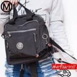 กระเป๋าสะพายข้างสีดำ กระเป๋าเป้ผ้าไนลอน No.1180 - สีดำ