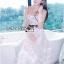 เดรสยาวผ้าลูกไม้สีขาวทอลายดอกเดซี่ตกแต่ผ้าทูลเล thumbnail 2