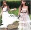 เดรสยาวผ้าลูกไม้สีขาวทอลายดอกเดซี่ตกแต่ผ้าทูลเล thumbnail 1