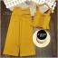 Set เสื้อสายเดี่ยวไหล่ระบาย ผ้าโฟร์เวย์ สม็อคหลัง มาพร้อมกางเกงขายาว ทรงกระบอกกว้าง thumbnail 7