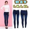 กางเกงยีนส์เอวต่ำ สีเมจิกฟอกขาว ขาดหน้าขา ทรงสวย ผ้ายืด มี SIZE S,L,XL