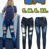 กางเกงยีนส์เอวต่ำ ขาดโบ๋หน้าขา ผ้ายืด ผ้ายีนส์ฟอกนิ่มใส่สบาย มี SIZE S,M,L,XL