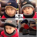 หมวกไหมพรม&ผ้าพันคอ 3in1 บุเฟอร์ด้านใน (เด็ก)