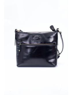 LDB194 กระเป๋าสะพาย ขนาดกลาง 3 ซิป หนังซีซีโอ เงาสวย สีดำ