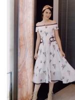 เดรสเกาหลี พร้อมส่ง Dress ปาดไหล่ แขนสั้น
