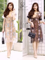 เดรสเกาหลี พร้อมส่ง Dress ผ้าซีทรูปักลาย