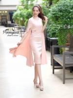 ชุดเดรสเกาหลี พร้อมส่ง Dress คอกลมแขนยาว