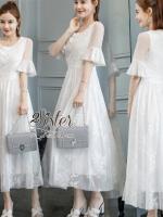 เดรสเกาหลี พร้อมส่ง เดรสยาว สีขาว ทอลายลูกไม้สวย