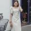 ชุดเดรสเกาหลี พร้อมส่ง Dress คอเหลี่ยม เอวสม๊อคหลัง thumbnail 8