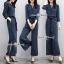 เสื้อผ้าเกาหลี พร้อมส่ง เสื้อ กับ กางเกง สีกรมลายริ้วขาวทางตรง thumbnail 1