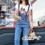 เสื้อผ้าเกาหลี พร้อมส่ง เสื้อสีขาว กับ เอี๊ยมยีนส์ เอวสูง thumbnail 10