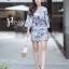 เดรสเกาหลี พร้อมส่ง Dress.พิมพ์ลายผ่าปลาย thumbnail 1