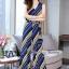 เสื้อผ้าเกาหลี พร้อมส่ง เสื้อ กับ กางเกงลายริ้วขวางสีน้ำเงิน thumbnail 4