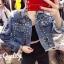 เสื้อเกาหลี พร้อมส่ง Jacket ยีนส์แท้ งานฟอก thumbnail 4