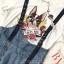 เสื้อผ้าเกาหลี พร้อมส่ง เสื้อสีขาว กับ เอี๊ยมยีนส์ เอวสูง thumbnail 14