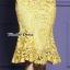 เดรสเกาหลี พร้อมส่ง เดรสลูกไม้ สีเหลืองทอง thumbnail 8