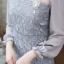 ชุดเดรสเกาหลี พร้อมส่ง Dress ลูกไม้แขนชีฟอง thumbnail 7