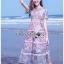 เดรสเกาหลี พร้อมส่ง เดรสผ้าลูกไม้ ลายปะการังสีพาสเทล thumbnail 3
