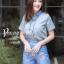 เสื้อผ้าเกาหลี พร้อมส่ง เสื้อคอปก+กก.ขาสั้นพิมพ์ลาย thumbnail 10