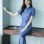 เสื้อผ้าเกาหลี พร้อมส่ง เสื้อเชิ้ต กับ กางเกง เอวขอบจับจีบ thumbnail 4