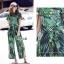 เสื้อผ้าเกาหลี พร้อมส่ง เสื้อกับกางเกง ลายใบไม้โทนสีเขียว thumbnail 5