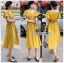 เสื้อผ้าเกาหลี พร้อมส่ง เสื้อคร็อปสั้นและกระโปรงสีเหลือง thumbnail 3