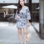 เดรสเกาหลี พร้อมส่ง Dress.พิมพ์ลายผ่าปลาย thumbnail 7