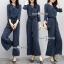 เสื้อผ้าเกาหลี พร้อมส่ง เสื้อ กับ กางเกง สีกรมลายริ้วขาวทางตรง thumbnail 8