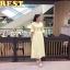 ชุดเดรสเกาหลี พร้อมส่ง แม็กซี่เดรส ลูกไม้ สีเหลือง thumbnail 3
