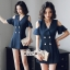 เสื้อผ้าเกาหลี พร้อมส่ง เสื้อสูท เว้าไหล่ ลายริ้ว thumbnail 1