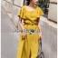 เสื้อผ้าเกาหลี พร้อมส่ง เสื้อคร็อปสั้นและกระโปรงสีเหลือง thumbnail 7