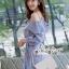 เดรสเกาหลี พร้อมส่ง เดรสเปิดไหล่ ลายริ้วสีฟ้า thumbnail 15