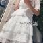 เดรสเกาหลี พร้อมส่ง เดรสผ้าลูกไม้ สีขาวตกแต่งเลเยอร์ thumbnail 11