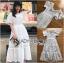 ชุดเดรสเกาหลี พร้อมส่ง เดรสผ้าคอตตอนสีขาวฉลุลาย thumbnail 11