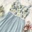 เดรสเกาหลี พร้อมส่ง ชุดเดรส เย็บปักลายดอกไม้สีขาว thumbnail 15