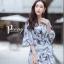เดรสเกาหลี พร้อมส่ง Dress.พิมพ์ลายผ่าปลาย thumbnail 2