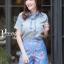 เสื้อผ้าเกาหลี พร้อมส่ง เสื้อคอปก+กก.ขาสั้นพิมพ์ลาย thumbnail 5